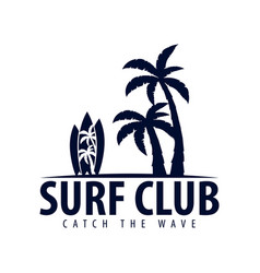 surfing logo and emblems for surf club or shop vector image vector image