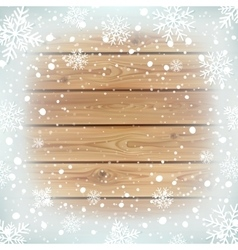 Winter background with wooden planks vector image