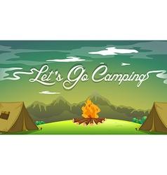 A poster showing a campsite vector