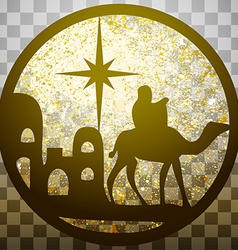 Adoration of the Magi silhouette icon gold on gray vector image