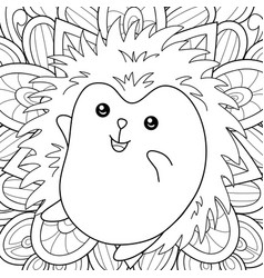 adult coloring bookpage a kawaii hedgehog on the vector image