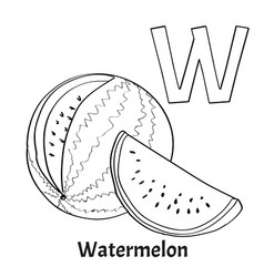 Alphabet letter w coloring page watermelon vector