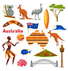 Australia icons set australian traditional vector