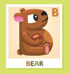 B is for bear letter bear cute vector