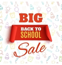 Back to school sale red banner vector