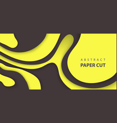 background with black and yellow color paper cut vector image