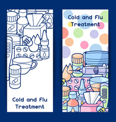 banners with medicines and medical objects vector image