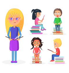 blonde girl holds book full-length reading kids vector image