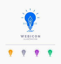 bulb idea electricity energy light 5 color glyph vector image