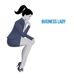 Business lady sitting thinking template vector image