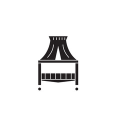 canopy bed black concept icon canopy bed vector image