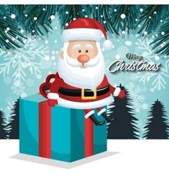 card xmas santa big gift landscape vector image