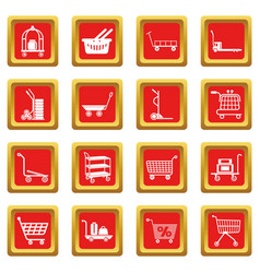 Cart types icons set red square vector