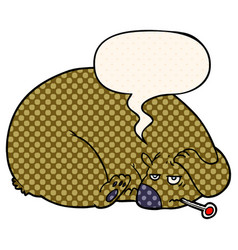 Cartoon bear and a sore head and speech bubble in vector