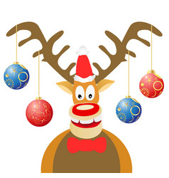 cartoon christmas deer with christmas balls vector image