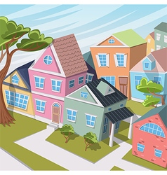 cartoon city landscape with houses and trees vector image