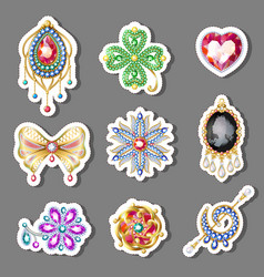 cartoon colorful paper brooches set vector image