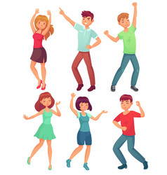 Cartoon dancing people happy dance of excited vector