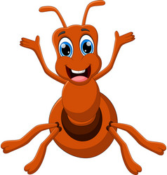 Cartoon funny ant waving on white background vector