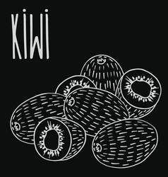 chalkboard ripe kiwi fruit vector image
