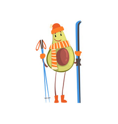 cheerful avocado skier with skis funny exotic vector image