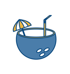 Coconut cocktail icon vector