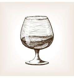 Cognac in glass sketch style vector