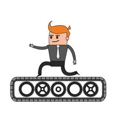 color image cartoon business man riding an belt vector image vector image