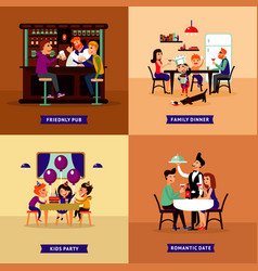 colorful eating people concept vector image
