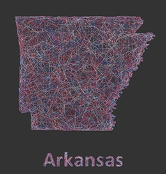 Colorful line art map of Arkansas state vector image