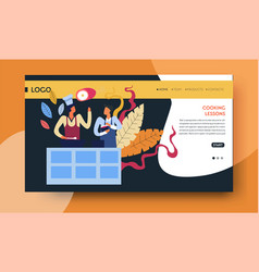 cooking lessons online video course web page vector image