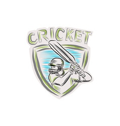 Cricket Player Batsman Batting Shield Etching vector image