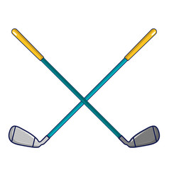 Crossed golf clubs icon cartoon style vector