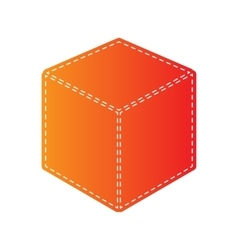 Cube sign Orange applique isolated vector image