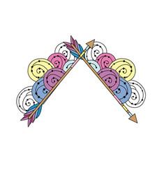cute arrows element with ornamental design vector image