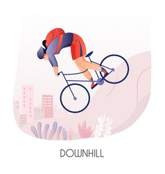 Cycling ride down hill vector