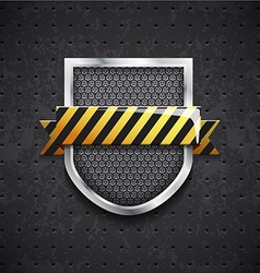 danger metal shield with black grille vector image