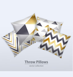 Decorative pillows patterns realistic set vector