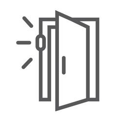door sensor line icon access and security vector image