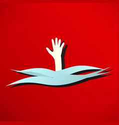 Drowning and reaching out hand for help vector