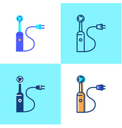 Electric toothbrush icon set in flat and line vector