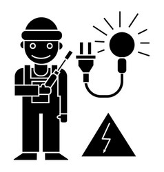 electrican icon black sign vector image