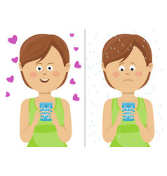 expressions of young woman with smartphone vector image