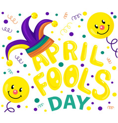 First april fool day typography colorful card vector