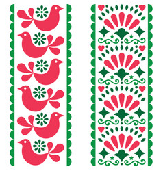 folk art seamless pattern - mexican style long vector image