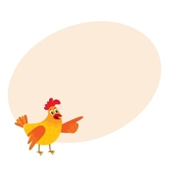 Funny cartoon chicken hen pointing to something vector image
