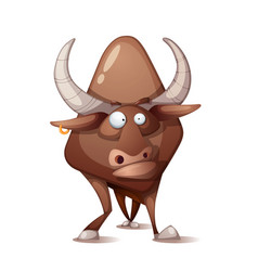 Funny cute crazy cartoon bull vector