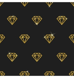 Glitter gold diamonds seamless background vector image
