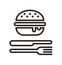 Hamburger fork and knife vector