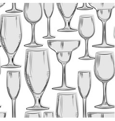 Hand drawn bar glassware seamless pattern vector